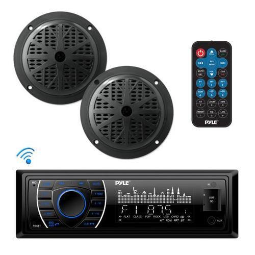Bluetooth Marine Receiver Stereo & Speaker Kit, Hands-Free Calling, Wireless Streaming, MP3/USB/SD Readers, AM/FM Radio, (2) 5.25 Waterproof Speakers (Black)