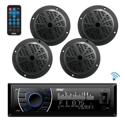 Bluetooth Marine Receiver Stereo & Speaker Kit, Hands-Free Calling, Wireless Streaming, MP3/USB/SD Readers, AM/FM Radio, (4) 6.5 Waterproof Speakers (Black)