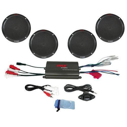 4 Channel 800 Watt Waterproof Micro Marine Amplifier & 6.5'' Speaker System