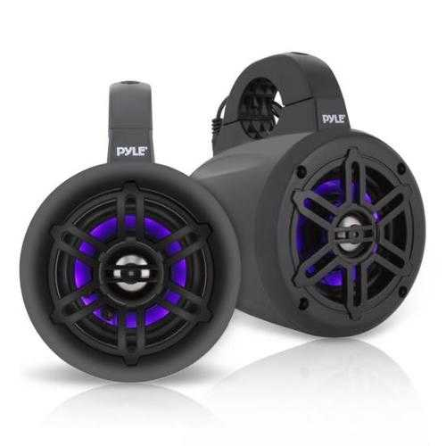 Waterproof Rated Marine Tower Speakers - Wakeboard Subwoofer Speaker System with Built-in LED Lights (4'' -inch, 300 Watt)