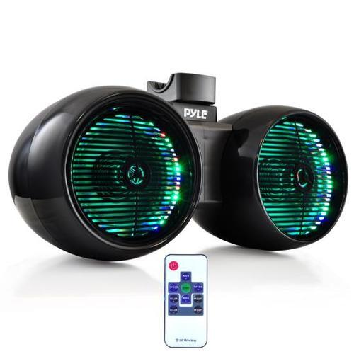 Dual Marine Tower Speakers, Wakeboard Water Resistant Sound System, Built-in Programmable Multi-Color LED Lights, 6.5'' Tower Speakers, 400 Watt, Remote Control, Black