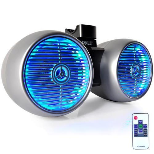 Dual Marine Tower Speakers, Wakeboard Water Resistant Sound System, Built-in Programmable Multi-Color LED Lights, 6.5'' Tower Speakers, 400 Watt, Remote Control, Silver