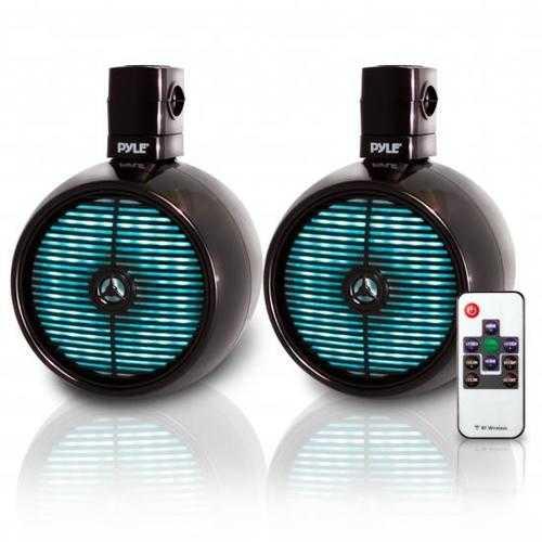 Waterproof Rated Marine Tower Speakers - Wakeboard Subwoofer Speaker System with Built-in LED Lights, 8.0'' (480 Watt)