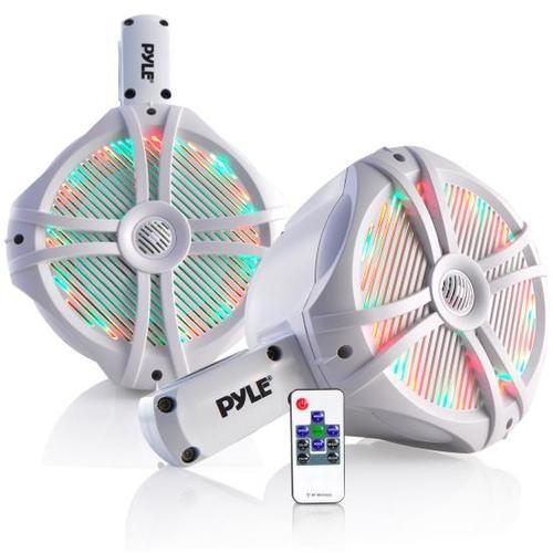 Dual Marine Wakeboard Water Resistant Speakers, Built-in Programmable Multi-Color LED Lights, 8'' Tower Speakers, 260 Watt, Remote Control, White
