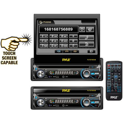 7'' Single DIN In-Dash Detachable Motorized Touch Screen TFT/LCD Monitor w/ DVD/CD/MP3/MP4/USB/SD/AM-FM Bluetooth Receiver