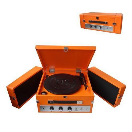 Retro Vintage Classic Style Bluetooth Turntable Record Player with Vinyl-to-MP3 Recording (Orange)
