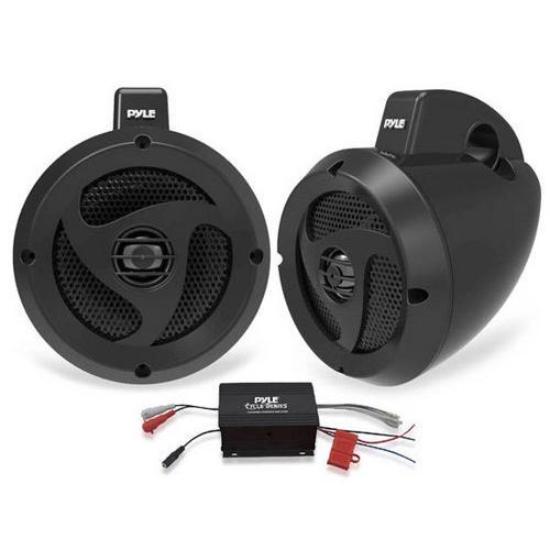 2 Channel Waterproof Dual Wakeboard 4'' UTV/ATV/Snowmobile/Marine Amplified Speaker System Includes (2) 4'' Marine Grade Speakers