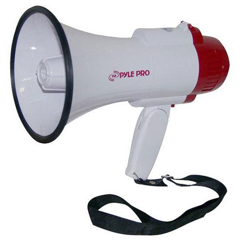 Megaphone PA Bullhorn with Built-in Siren, Record Function with 10 Second Memory, Adjustable Volume Control and 800 Yard Range