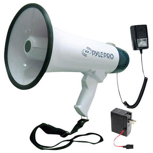 Bullhorn Megaphone, Built-in Rechargeable Battery, 10 Second Memory Record, Detachable Microphone, Siren Alarm
