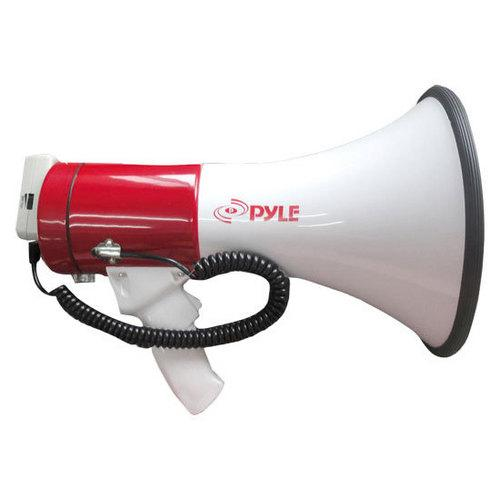 Megaphone Bullhorn with USB Flash Drive & SD Memory Card Readers, Aux (3.5mm) Input Connector Jack, Built-in Rechargeable Battery, Siren Mode