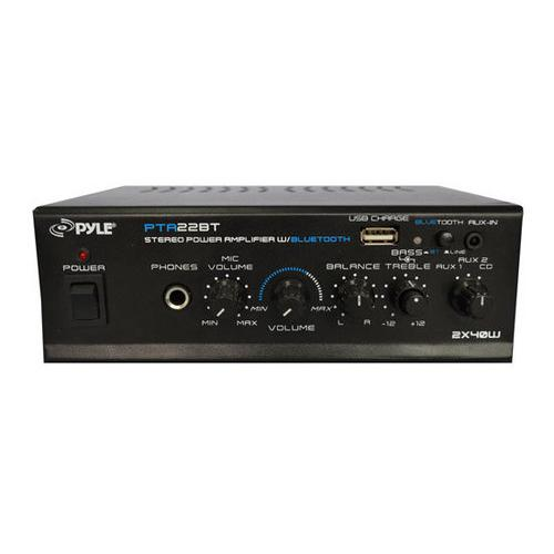 Bluetooth Mini Blue Series Stereo Power Amplifier, 2 x 40 Watt, Pager & Mixing/Karaoke Functions, Microphone Input, USB Charge Port, RCA and AUX (3.5mm) Input Connector Jacks