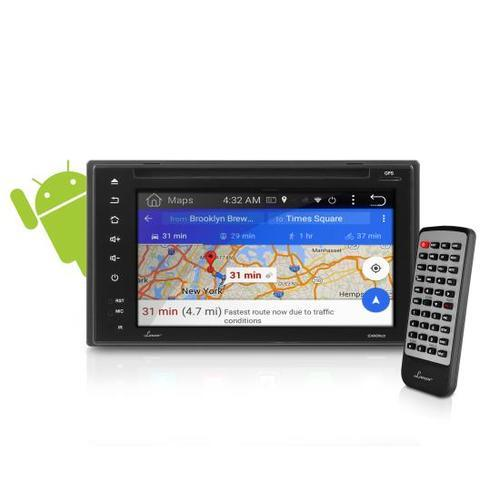 Double DIN Android Touchscreen Bluetooth Headunit Stereo Receiver, Full HD 1080p Support, Built-in WiFi, MirrorLink/AirPlay Device Mirroring, CD/DVD Player, 16GB Memory, AM/FM Stereo Radio, Browser & App Download, 6.5'' Display
