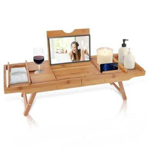 Natural Bamboo Bathtub Caddy - Shower Tub Caddy Tray with Adjustable Length