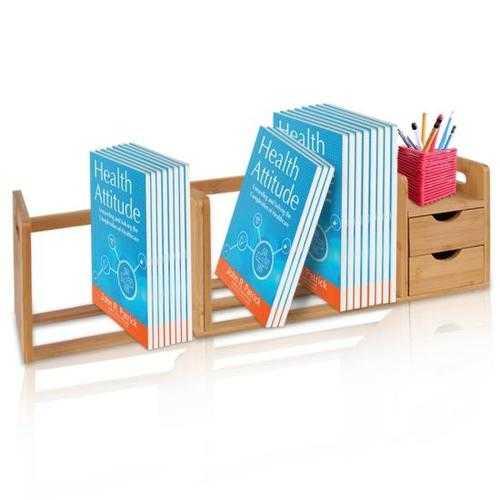 Natural Bamboo Bookshelf - Desktop Shelf Organizer Unit with Drawers & Adjustable Shelf