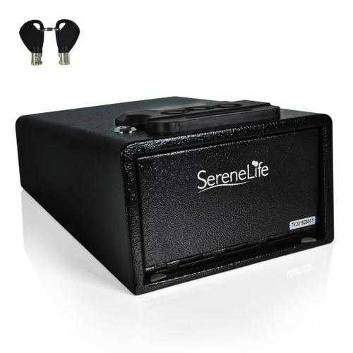 Electronic Firearm Gun Safe - Pistol Security Box with Mechanical Override, Includes Keys