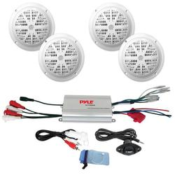 4x120 Watts 6.5'' Dual Cone White Marine Speakers, 4 Channel Waterproof MP3/ Ipod Marine Power Amplifier