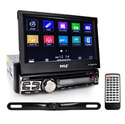 7-inch Bluetooth Headunit Receiver & Backup Camera Kit, Built-in Mic for Hands-Free Call Answering, Touch Screen, CD/DVD Player, USB/Micro SD Readers, AM/FM Radio, AUX Input, Single DIN, Waterproof Rearview Night Vision Cam