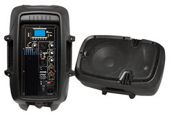 Category: Dropship Musical Instruments, SKU #PPHP1037UB, Title: Bluetooth Loudspeaker PA Cabinet Speaker System, Powered 2-Way Full Range Sound, Recording Ability, USB/SD, AM/FM Radio, Aux Input, 10-Inch, 700 Watt