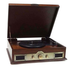 Bluetooth Vintage Classic Style Turntable Wireless Music Streaming, AM/FM Radio, USB Record Ability, AUX (3.5mm) Input