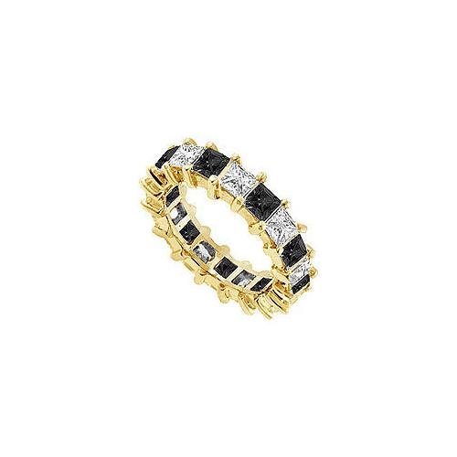 Black and White Diamond Eternity Band : 14K Yellow Gold – 5.00 CT Diamonds
