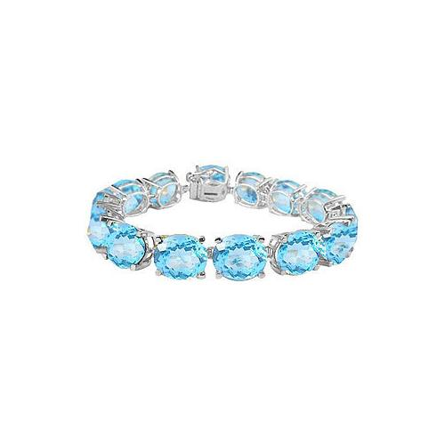 14K White Gold Prong Set Oval Aquamarine Bracelet with 50.00 CT TGW