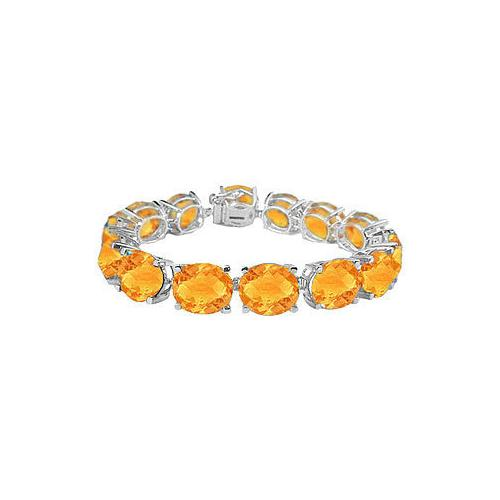 14K White Gold Prong Set Oval Citrine Bracelet with 50.00 CT TGW