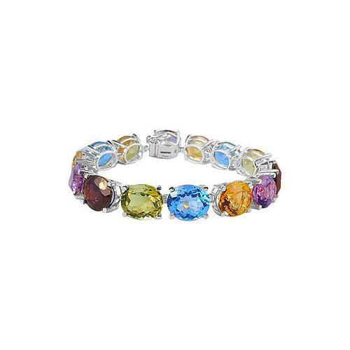 14K White Gold Prong Set Oval Multi Color Gemstone Bracelet with 50.00 CT TGW