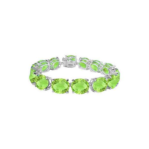 14K White Gold Prong Set Oval Peridot Bracelet with 50.00 CT TGW