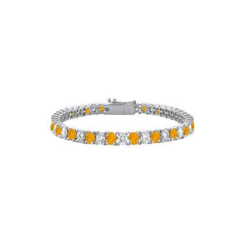 Citrine and Cubic Zirconia Prong Set 10K White Gold Tennis Bracelet 10.00 CT TGW