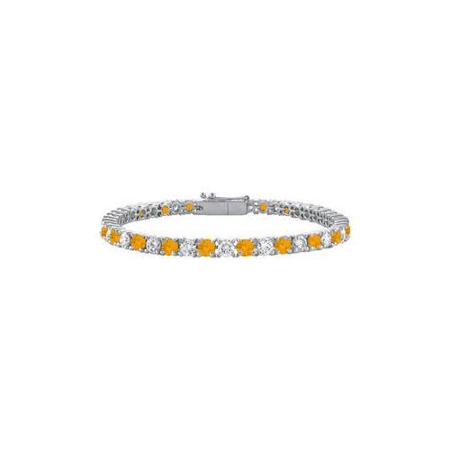 Citrine and Cubic Zirconia Prong Set 10K White Gold Tennis Bracelet 2.00 CT TGW