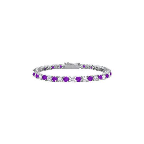Amethyst and Cubic Zirconia Prong Set 10K White Gold Tennis Bracelet 3.00 CT TGW