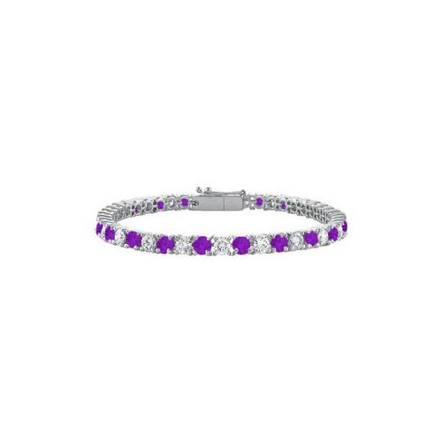 Amethyst and Cubic Zirconia Prong Set 10K White Gold Tennis Bracelet 4.00 CT TGW