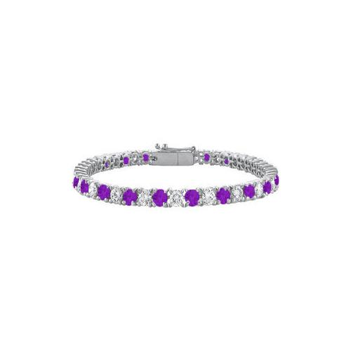 Amethyst and Cubic Zirconia Prong Set 10K White Gold Tennis Bracelet 7.00 CT TGW