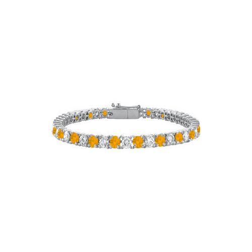 Citrine and Cubic Zirconia Prong Set 10K White Gold Tennis Bracelet 7.00 CT TGW