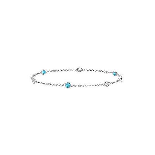 Blue Topaz and Diamond Bracelet : 14K White Gold - 1.00 CT TGW