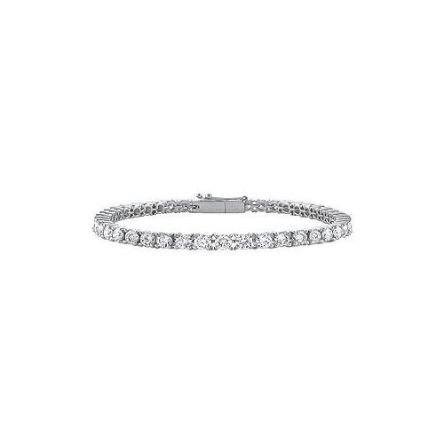 14K White Gold : Cubic Zirconia Prong-Set 2.00 CT TGW Tennis Bracelet