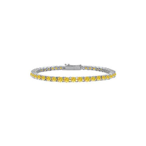 14K White Gold : Yellow Sapphire Prong-Set 2.00 CT TGW Tennis Bracelet