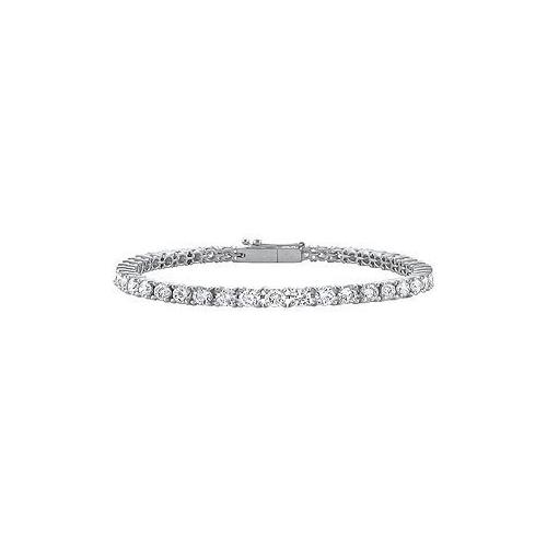 14K White Gold : Cubic Zirconia Prong-Set 3.00 CT TGW Tennis Bracelet