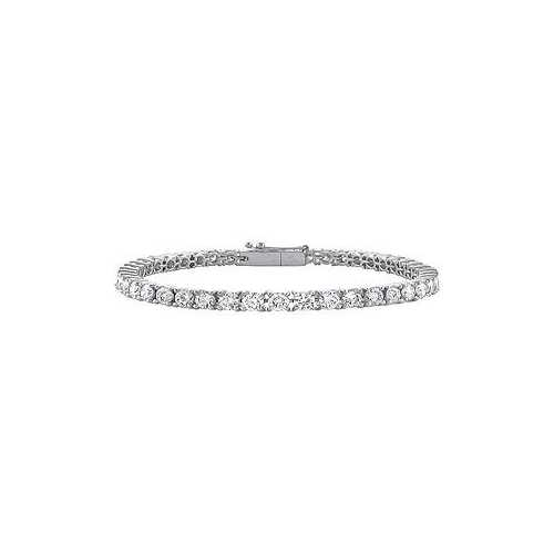 14K White Gold : Cubic Zirconia Prong-Set 4.00 CT TGW Tennis Bracelet