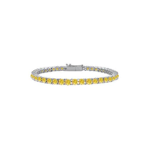 14K White Gold : Yellow Sapphire Prong-Set 4.00 CT TGW Tennis Bracelet