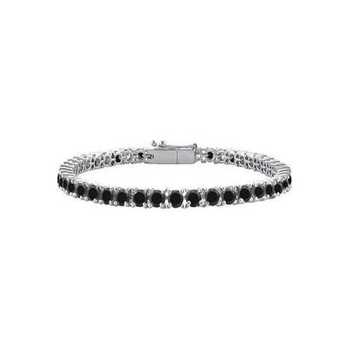 Black Diamond Prong-Set Tennis Bracelet : 14K White Gold – 10.00 CT Diamonds