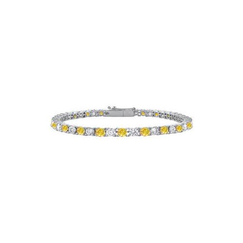 14K White Gold : Yellow Sapphire and Cubic Zirconia Prong-Set Tennis Bracelet 3.00 CT TGW