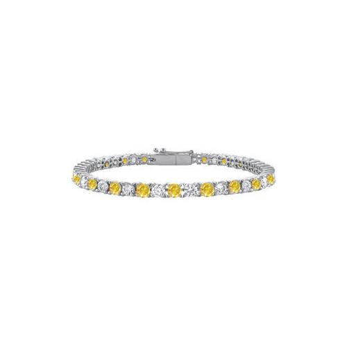 14K White Gold : Yellow Sapphire and Cubic Zirconia Prong-Set Tennis Bracelet 4.00 CT TGW