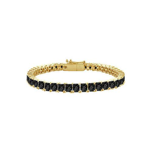 Black Diamond Princess-Cut Tennis Bracelet : 14K Yellow Gold – 7.00 CT Diamonds