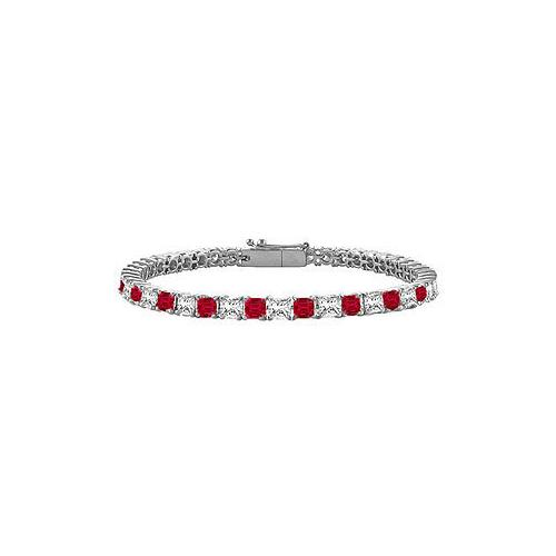 18K White Gold : Princess Cut Ruby & Diamond Tennis Bracelet 2.00 CT TGW