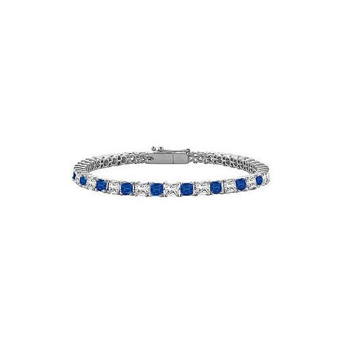 18K White Gold : Princess Cut Blue Sapphire & Diamond Tennis Bracelet 2.00 CT TGW