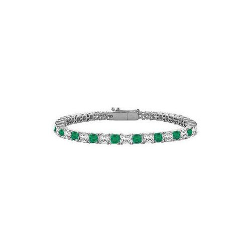 18K White Gold : Princess Cut Emerald & Diamond Tennis Bracelet 3.00 CT TGW