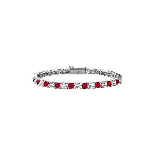 18K White Gold : Princess Cut Ruby & Diamond Tennis Bracelet 3.00 CT TGW