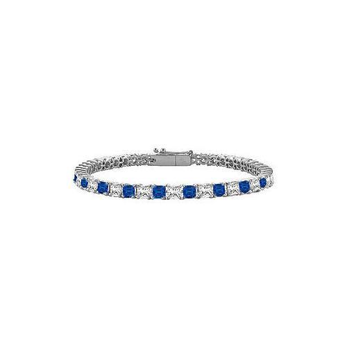 18K White Gold : Princess Cut Blue Sapphire & Diamond Tennis Bracelet 3.00 CT TGW
