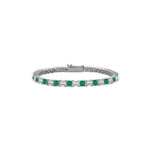 18K White Gold : Princess Cut Emerald & Diamond Tennis Bracelet 4.00 CT TGW